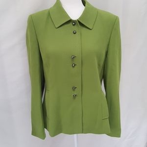 Tahari lime green jacket pewter buttons sz 12